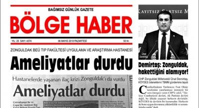 06/05/2019 TARİHLİ BÖLGE HABER GAZETESİ... SABAH BAYİLERDE...