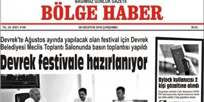 08 AĞUSTOS ÇARŞAMBA 2018 BÖLGE HABER GAZETESİ... SABAH BAYİLERDE....