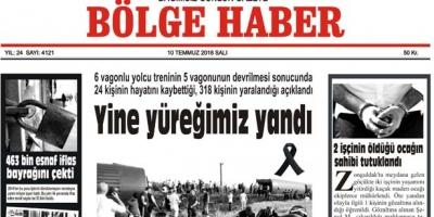 10 TEMMUZ SALI 2018 BÖLGE HABER GAZETESİ... SABAH BAYİLERDE....