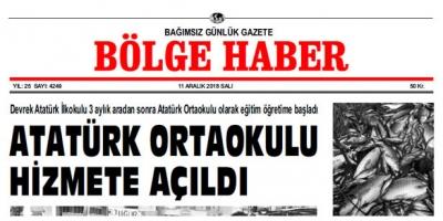 11 ARALIK SALI 2018 BÖLGE HABER GAZETESİ... SABAH BAYİLERDE...
