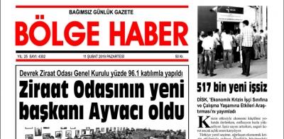 11/02/2019 TARİHLİ BÖLGE HABER GAZETESİ... SABAH BAYİLERDE...