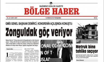 12 NİSAN 2018 BÖLGE HABER GAZETESİ ÖN SAYFA GÖRÜNÜMÜ SABAH BAYİLERDE...