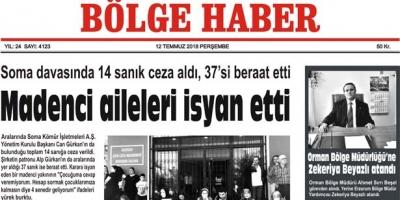 12 TEMMUZ PERŞEMBE 2018 BÖLGE HABER GAZETESİ... SABAH BAYİLERDE....
