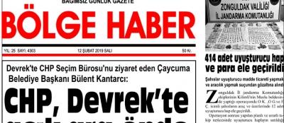 12/02/2019 TARİHLİ BÖLGE HABER GAZETESİ... SABAH BAYİLERDE...