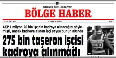 13 KASIM SALI 2018 BÖLGE HABER GAZETESİ... SABAH BAYİLERDE....