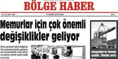 13 TEMMUZ CUMA 2018 BÖLGE HABER GAZETESİ... SABAH BAYİLERDE....
