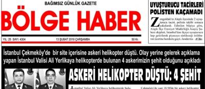 13/02/2019 TARİHLİ BÖLGE HABER GAZETESİ... SABAH BAYİLERDE...