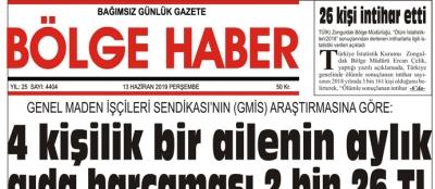 13/06/2019 TARİHLİ BÖLGE HABER GAZETESİ... SABAH BAYİLERDE...