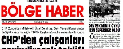 15/01/2019 TARİHLİ BÖLGE HABER GAZETESİ... SABAH BAYİLERDE...
