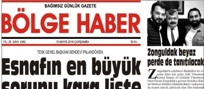 15/05/2019 TARİHLİ BÖLGE HABER GAZETESİ... SABAH BAYİLERDE...