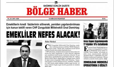 15/10/2018 TARİHLİ BÖLGE HABER GAZETESİ SABAH BAYİLERDE...
