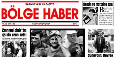 16/01/2019 TARİHLİ BÖLGE HABER GAZETESİ... SABAH BAYİLERDE...