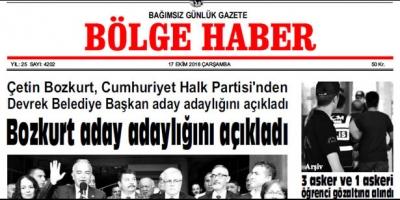 17 EKİM ÇARŞAMBA 2018 BÖLGE HABER GAZETESİ... SABAH BAYİLERDE....