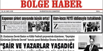 18 AĞUSTOS CUMARTESİ 2018 BÖLGE HABER GAZETESİ... SABAH BAYİLERDE....