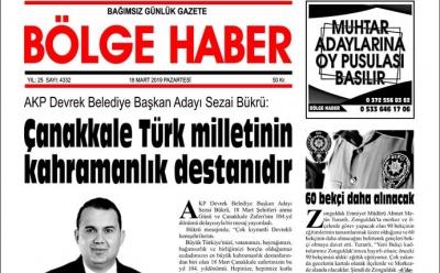 18/03/2019 TARİHLİ BÖLGE HABER GAZETESİ... SABAH BAYİLERDE...
