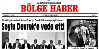 19 EYLÜL ÇARŞAMBA 2018 BÖLGE HABER GAZETESİ... SABAH BAYİLERDE....