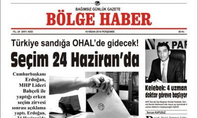 19 NİSAN 2018 BÖLGE HABER GAZETESİ SABAH BAYİLERDE...