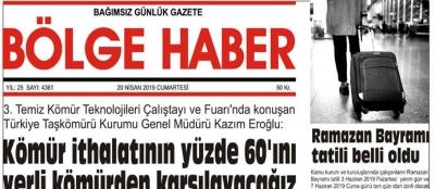 20/04/2019 TARİHLİ BÖLGE HABER GAZETESİ... SABAH BAYİLERDE...