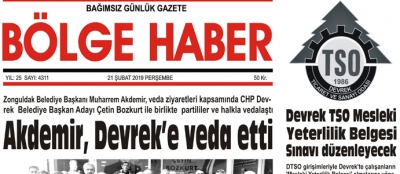 21/02/2019 TARİHLİ BÖLGE HABER GAZETESİ... SABAH BAYİLERDE...