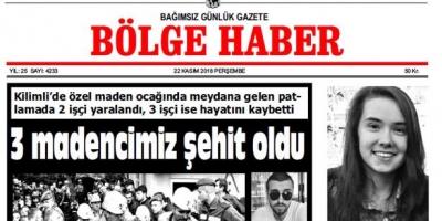 22 KASIM PERŞEMBE 2018 BÖLGE HABER GAZETESİ... SABAH BAYİLERDE....