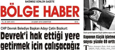 23/02/2019 TARİHLİ BÖLGE HABER GAZETESİ... SABAH BAYİLERDE...
