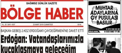 23/03/2019 TARİHLİ BÖLGE HABER GAZETESİ... SABAH BAYİLERDE...