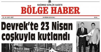 24 NİSAN 2018 BÖLGE HABER GAZETESİ SABAH BAYİLERDE..