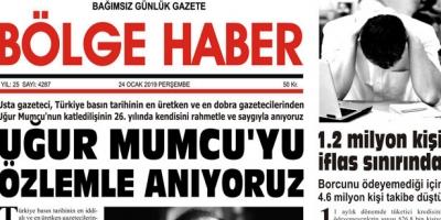 24/01/2019 TARİHLİ BÖLGE HABER GAZETESİ... SABAH BAYİLERDE...