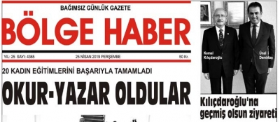 25/04/2019 TARİHLİ BÖLGE HABER GAZETESİ... SABAH BAYİLERDE...