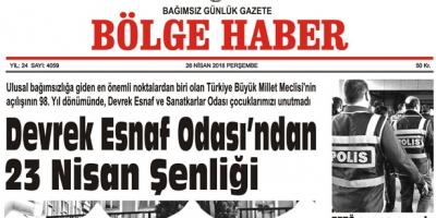 26 NİSAN 2018 BÖLGE HABER GAZETESİ SABAH BAYİLERDE..