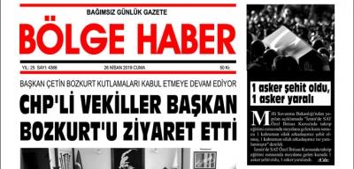 26/04/2019 TARİHLİ BÖLGE HABER GAZETESİ... SABAH BAYİLERDE...